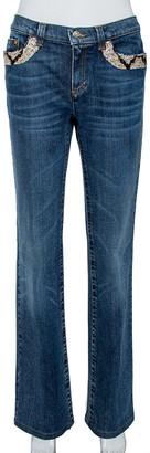 Roberto Cavalli Indigo Denim Sequined Straight Fit Jeans L