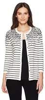 Rafaella Women's Missy Striped Sequin Weekend Cardigan