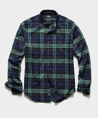 Todd Snyder Italian Navy Plaid Flannel Button Down Shirt