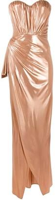 Elisabetta Franchi Metallic Draped Gown