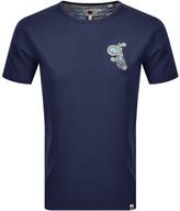 Pretty Green Marshall Paisley Logo T Shirt Navy