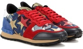 Valentino Starstudded Rockrunner Denim And Suede Sneakers