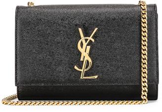 Saint Laurent Small Kate Monogramme Chain Bag in Black   FWRD