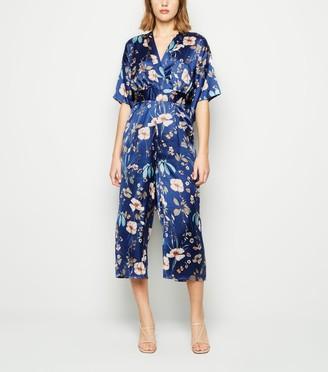 New Look Mela Floral Satin Kimono Jumpsuit