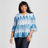 U-knit Women's Plus Size Watercolor Chevron Tiered Bell Sleeve Top Blue U-Knit