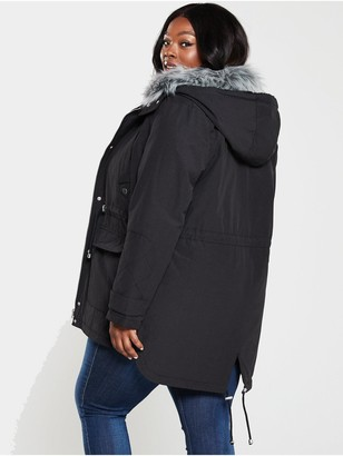 V By Very Curve Faux Fur Parka Coat - Black