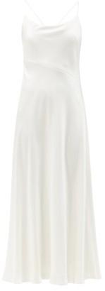 Galvan Sonoma Tie-back Satin Midi Dress - White