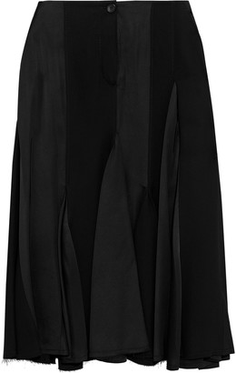Lanvin Paneled Pleated Satin And Crepe Midi Skirt