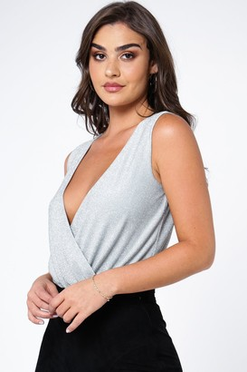 Linzi The Girlcode Metallic Glitter Wrap Front Sleeveless Bodysuit