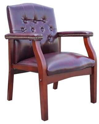 Charlton Home Raye Leather Guest Chair Seat Color: Oxblood