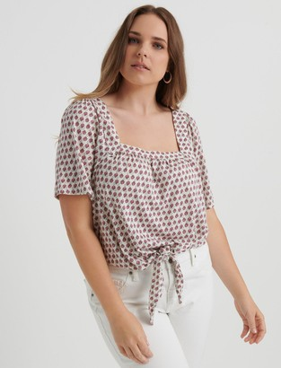 Lucky Brand Printed Tie Front Top