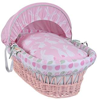 Clair De Lune Rabbits Pink Wicker Moses Basket inc. bedding, mattress & adjustable hood (Pink)