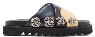 Toga Crossover-strap Leather Slides - Navy Multi