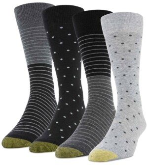 Gold Toe Men's 4-Pack Dot Stripe Socks