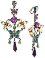 Betsey Johnson Hematite-Tone Crystal Butterfly Chandelier Earrings