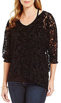 Democracy Cut-Out Neckline 3/4 Sleeve Lace Top