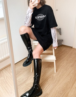 Weekday Tracy double layer t-shirt dress with slogan in black