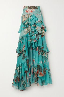 PatBO Carolina Ruffled Tiered Floral-print Chiffon Maxi Skirt - Turquoise