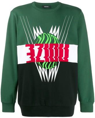 Diesel colour block motif sweatshirt