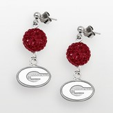 Logoart University of Georgia Bulldogs Sterling Silver Crystal Linear Drop Earrings
