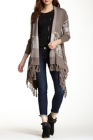Love Stitch Printed Fringe Open Cardigan