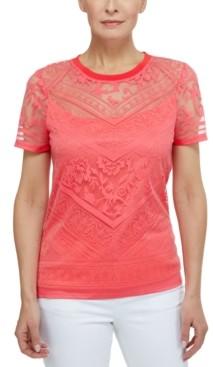 Laundry by Shelli Segal Burnout Short Sleeve T-Shirt