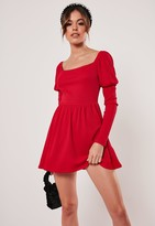 Missguided Recycled Petite Red Milkmaid Skater Dress