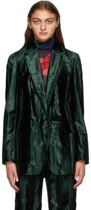 Dries Van Noten Green Velvet Blazer