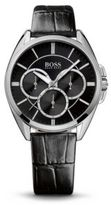 HUGO BOSS 1502359 Chronograph Black Croc-Embossed Leather Watch One Size Assorted-Pre-Pack