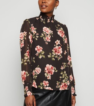 New Look Floral Chiffon Balloon Sleeve Blouse