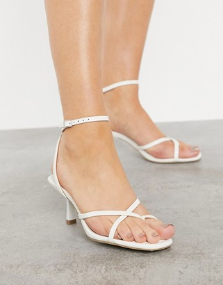 Schuh Saphire strappy square toe heeled sandals in white