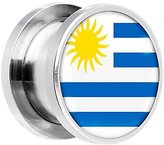 Body Candy Stainless Steel Uruguay Flag Screw Fit Double Flare Plug Pair 13mm