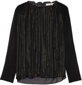 Sandro Erona striped metallic silk-blend and crepe de chine blouse