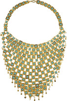 Gold-plated bead-embellished bib necklace