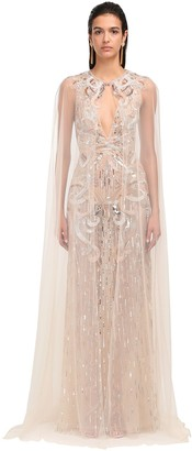 ZUHAIR MURAD Embellished Tulle Long Cape