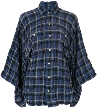 R 13 plaid draped shirt