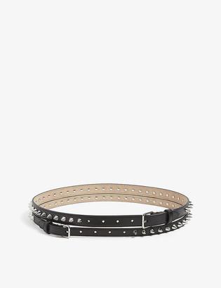 Alexander McQueen Stud-embellished double leather belt