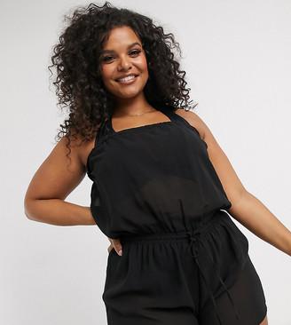 Simply Be bandeau playsuit in black