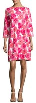 Joan Vass 3/4-Sleeve Floral-Print Dress