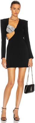 David Koma Crystal Bra Asymmetric Mini Dress in Black & Silver | FWRD