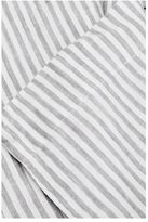 IN BED Linen Flat Sheet - Grey & White Stripe