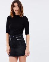 Mng Studded Denim Skirt