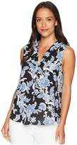 Vince Camuto Sleeveless Exotic Woodblock Floral V-Neck Blouse Women's Blouse