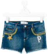 Philipp Plein chain embroidery denim shorts - kids - Cotton/Spandex/Elastane - 14 yrs