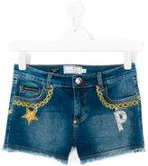 Philipp Plein chain embroidery denim shorts - kids - Cotton/Spandex/Elastane - 16 yrs