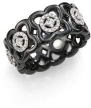 De Beers Moonlight Enchanted Lotus Diamond, 18K White Gold& Black Ceramic Band Ring