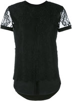 Twin-Set lace details T-shirt - women - Silk/Polyamide/Polyester - XXS