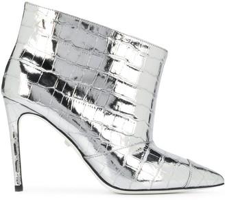 Grey Mer Snakeskin Effect Boots