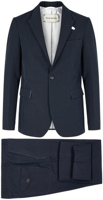 Oliver Spencer Navy cotton-blend suit