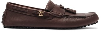 Gucci Ayrton Fringed Leather Driving Loafers - Brown
